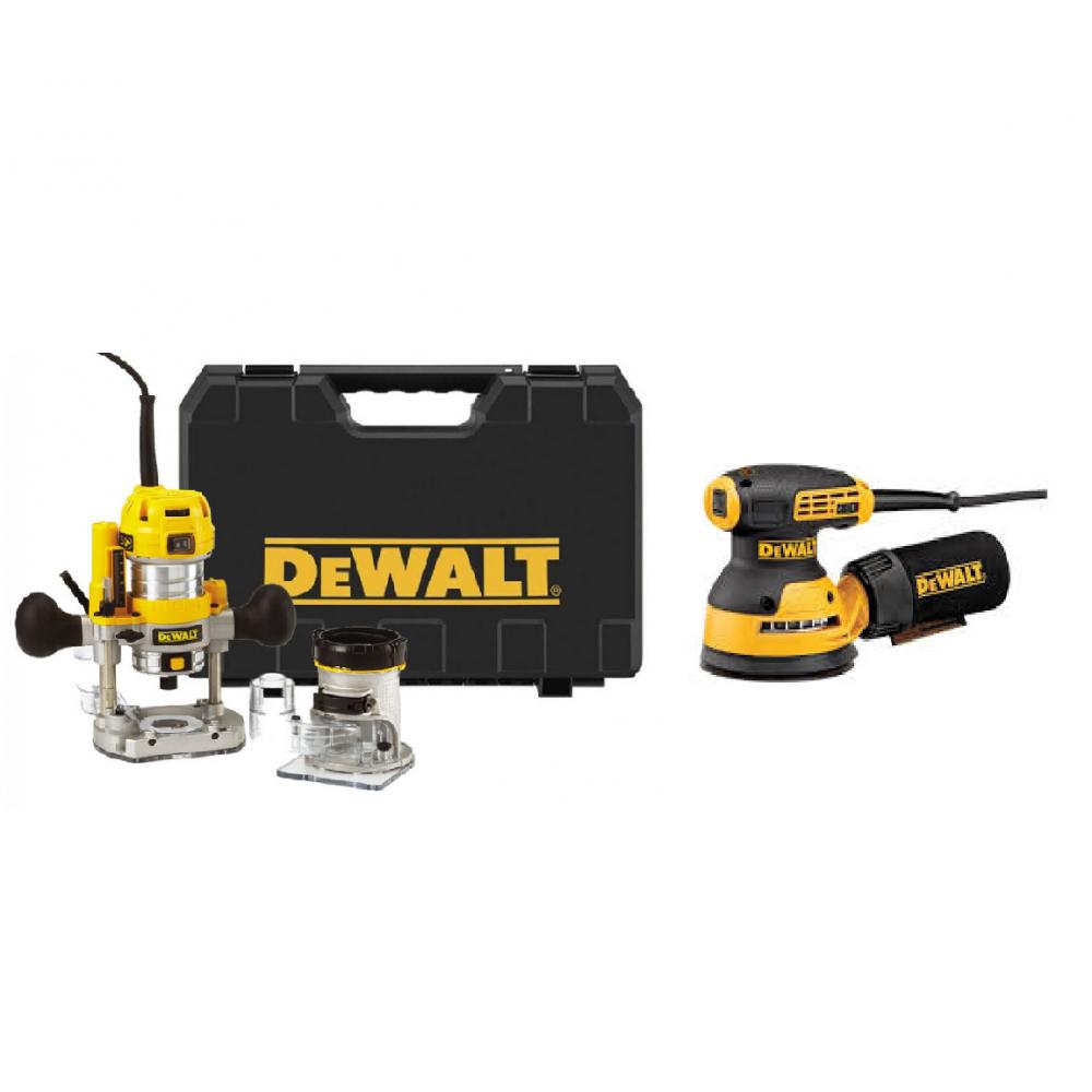Įrankių rinkinys Frezuoklis DeWALT D26204K + Elektrinis šlifuoklis DeWALT DWE6423