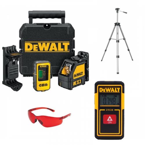 DW088KD DeWALT 2 krypčių savaime susireguliuojantis lazeris + DE0892 lazerio detektorius + DW030PL lazerinis atstumo matuoklis