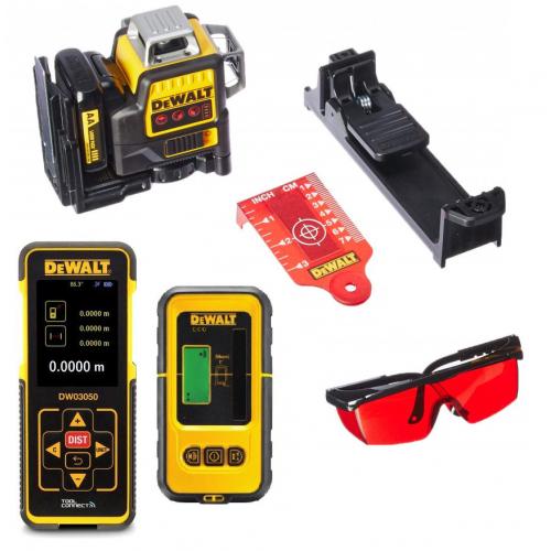 DCE089D1R + DE0892 + DW03050 DeWALT kryžminių linijų lazeris ir linijinio lazerio detektorius