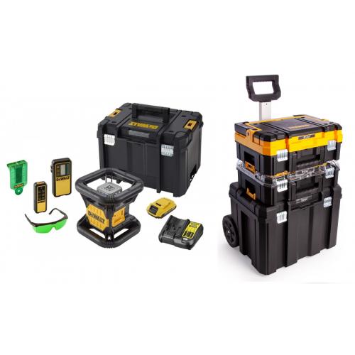 DCE079D1G DeWALT rotacinis nivelyras + statybinis trikojis + DWST1-81049 TSTAK vežimėlio ir dėžių komplektas