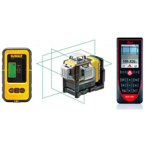 Rinkinys DeWALT DCE089D1G kryžminių linijų lazeris + DE0892G linijinio lazerio detektorius + Leica DISTO™ D510 atstumų matuoklis