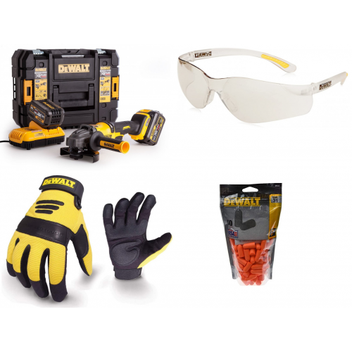 DCG414T2 DeWALT 54V akumuliatorinis kampinis šlifuoklis + apsauginiai akiniai, pirštinės, vienkartiniai ausų kištukai