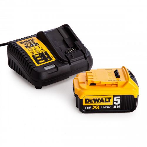 DCB184 DeWALT 18V, 5.0 Ah akumuliatorius + DCB115 kroviklis