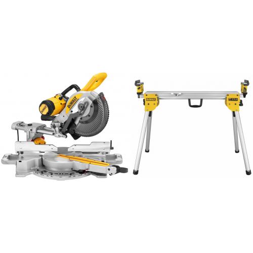 DWS727 DeWALT skersinio pjovimo staklės (250mm) + DE7033 pjūklo stalas