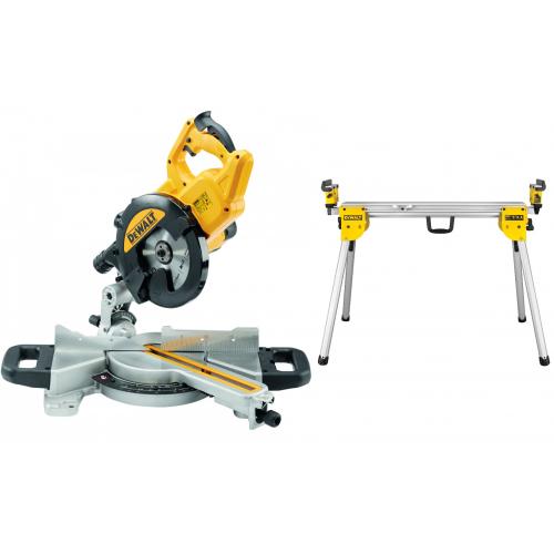 DWS774 DeWALT 216 mm skersavimo pjūklas 1400W + DE7033 kompaktiškas stalas