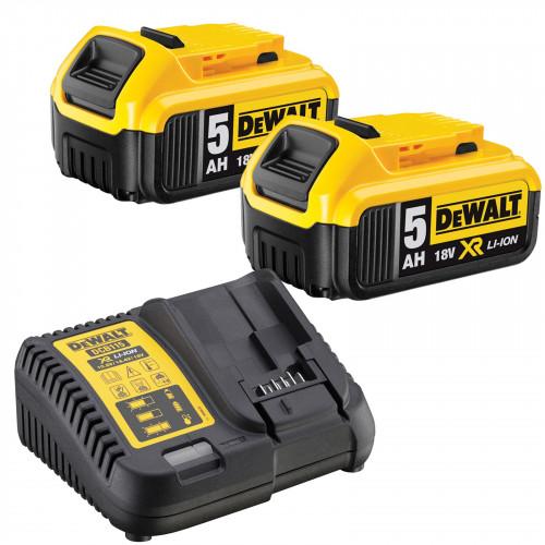 DCB115P2 DeWALT XR Li-Ion baterijų kroviklis + 2 x 5.0 Ah baterijos