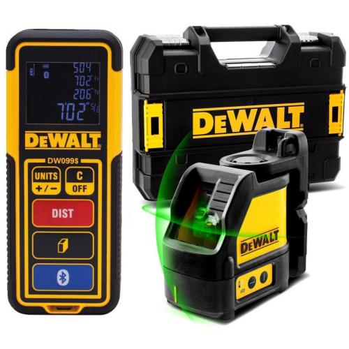 DW0889CG DeWALT kryžminis lazerinis nivelyras + atstumų matuoklis