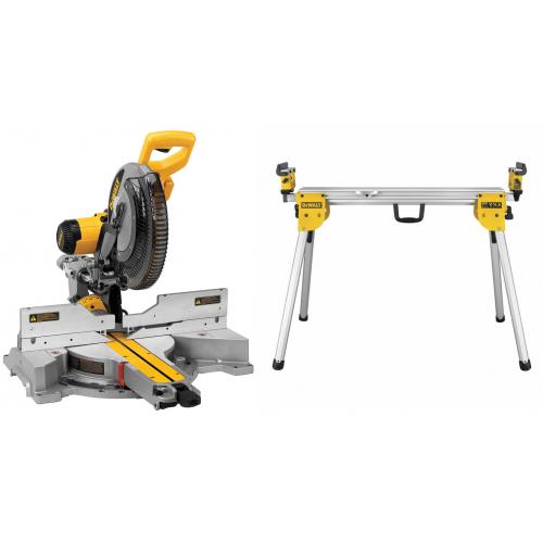 DWS780XPS DeWALT 305 mm slankus skersinis pjūklas + DE7033 kompaktiškas stalas