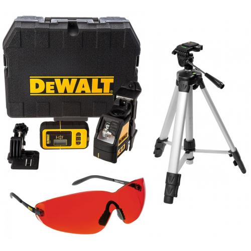 DW088KD DeWALT 2 krypčių savaime susireguliuojantis lazeris su detektorium ir akiniais + 1-77-201 Stanley stovas
