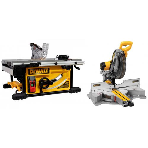 DeWALT DWS780XPS + DWE7492 išilginio ir skersinio pjovimo staklės + DWE74911 + DE7023 stalai