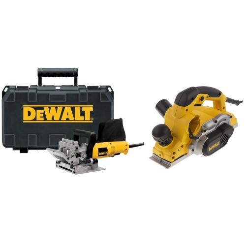 DW682K DeWALT 600W freza kaištiniams jungikliams + D26500 1050W elektrinis oblius 82 mm