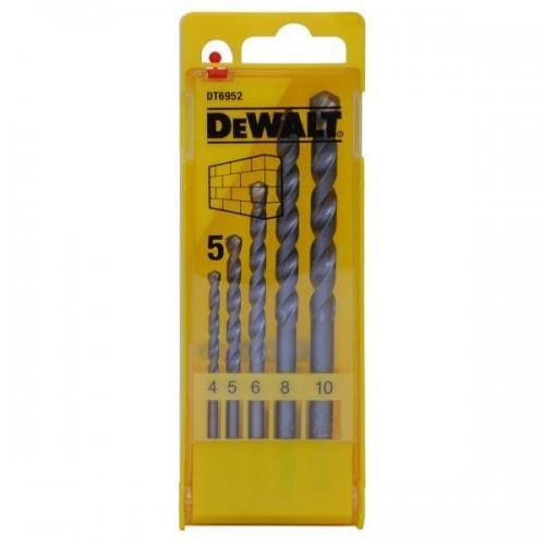 DT6952 DEWALT Grąžtų komplektas betonui 4/5/6/8/10 mm 5 vnt.