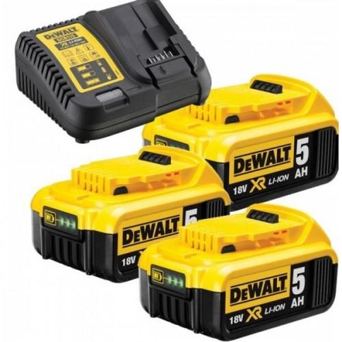 DCB115P3 DeWALT 18V baterijų ir kroviklio rinkinys (3x5.0 Ah)