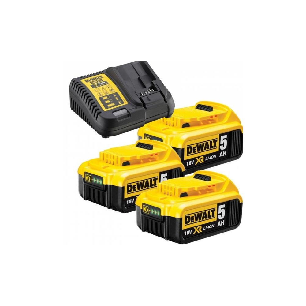 DCB115P3 DeWALT XR Li-Ion baterijų kroviklis + 3vnt 5Ah baterijų