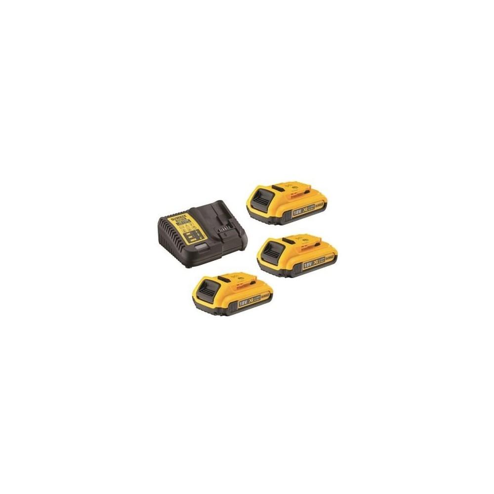DCB115D3 DeWALT XR Li-Ion baterijų kroviklis + 3 baterijos DCB183