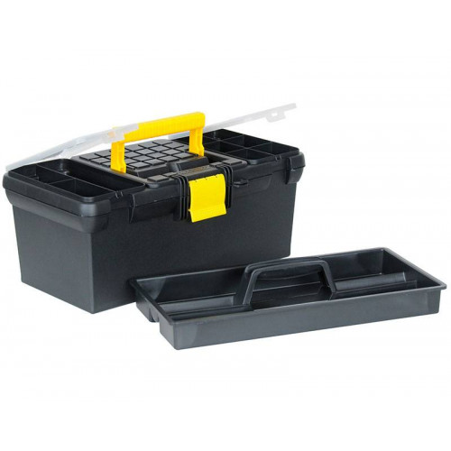 1-93-335 įrankių dėžė su 2 įmontuotais skyriais ir padėklu